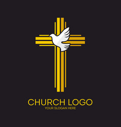 Cross and dove holy spirit vector