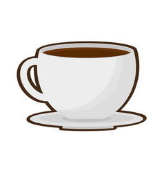Cup coffee fresh plate vector