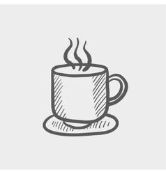 Cup of hot coffee sketch icon vector image