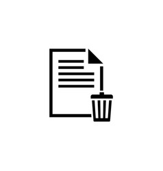 delete file trash paper document icon vector image
