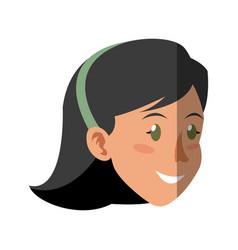 Face woman head smile hai vector