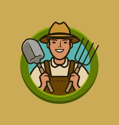 farmer logo or label agriculture farm vector image