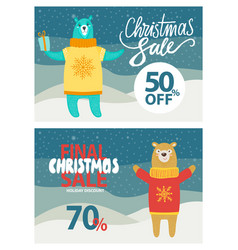 final christmas sale up to 50-70 off promo poster vector image