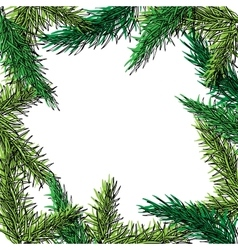 Fir tree hand drawn frame for winter and vector