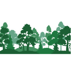 Forest trees silhouette nature landscape green vector