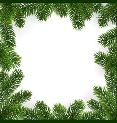 frame christmas tree branches and empty center vector image