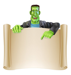 frankenstein halloween sign scroll vector image