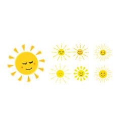 funny sun icon cute sun set flat style yellow vector image