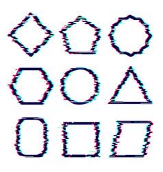Glitch frames distortion rectangular cyber vector