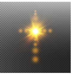 Glowing white christian cross with sun flare vector