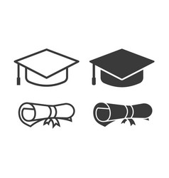 Graduation cap and diploma icons vector