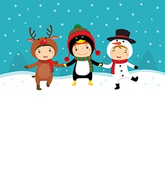 Happy kids in Christmas costumes playing with snow vector