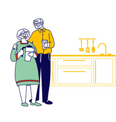 Happy loving senior couple stand on kitchen man vector