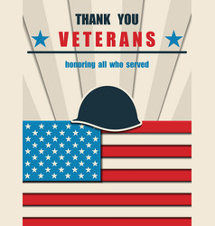 happy veterans day greeting card with usa flag vector image