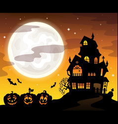 haunted house silhouette theme image 5 vector image