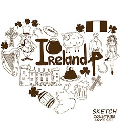 Heart shape concept of Irish symbols vector image