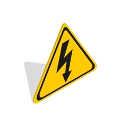 High voltage sign icon isometric 3d style vector image