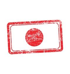 japan flag red grunge rubber stamp vector image