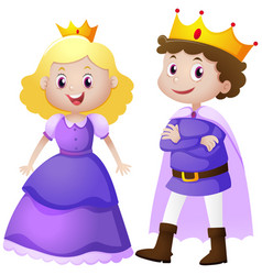 King and queen in purple costume vector