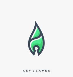 Leaf key line art design template vector