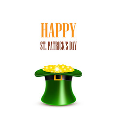 leprechaun hat filled with gold saint patricks vector image