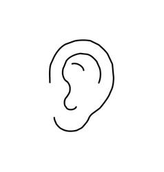 Line drawing ear sketch symbol vector