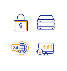 lock 24h service and servers icons set seo sign vector image