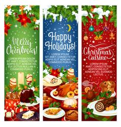 Merry christmas dinner cuisine banners vector