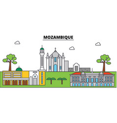 Mozambique outline city skyline linear vector