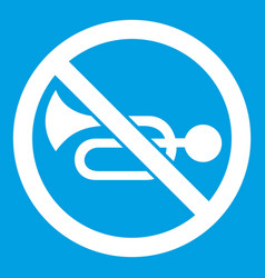 No horn traffic sign icon white vector
