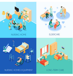 Nursing care concept isometric icons vector