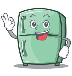 Okay cute refrigerator character cartoon vector