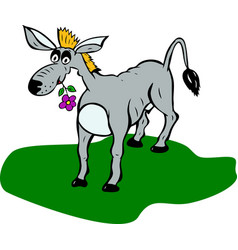 Painted gray donkey with flower in mouth stands vector