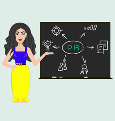 Pr manager near te board with infographic vector