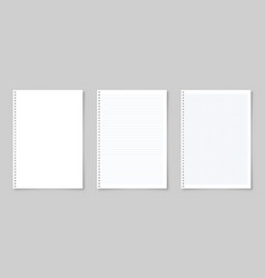 realistic blank lined paper sheet with shadow in vector image