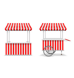 realistic set of street food kiosk and cart with vector image