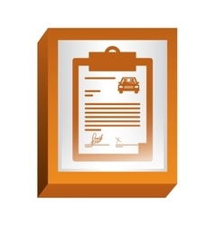 Rectangle button with notepad of contract car vector