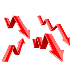 red down arrows financial statistic 3d symbols vector image
