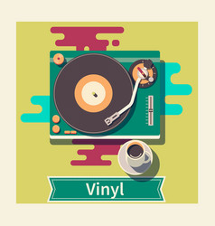 Retro vinyl turntable flat vector