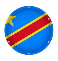 round metal flag democratic republic of the congo vector image