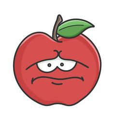 sad red apple cartoon apple vector image