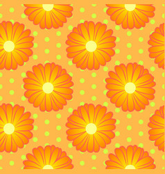 Seamless floral pattern with orange marigold vector