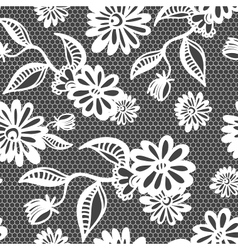 Seamless floral vintage lace background vector image