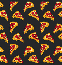 Seamless pattern fast food pizza black background vector