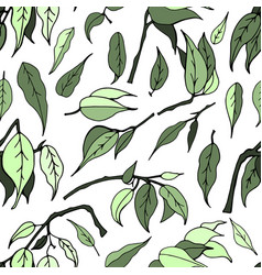 seamless pattern with leaves of ficus benjamin vector image