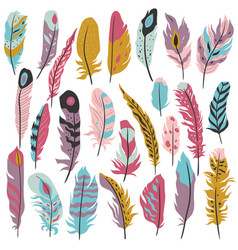 set of feathers in boho style isolated on white vector image