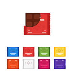 set of flat chocolate bar icons vector image