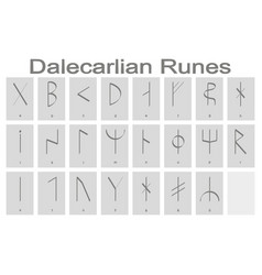 Set of monochrome icons with runic alphabet vector
