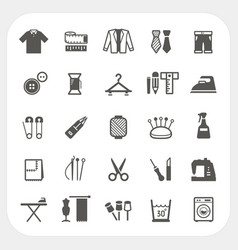 sewing equipment icons set isolated on white vector image