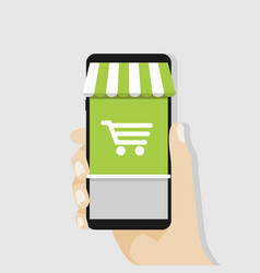 Shopping online with mobile business concept vector
